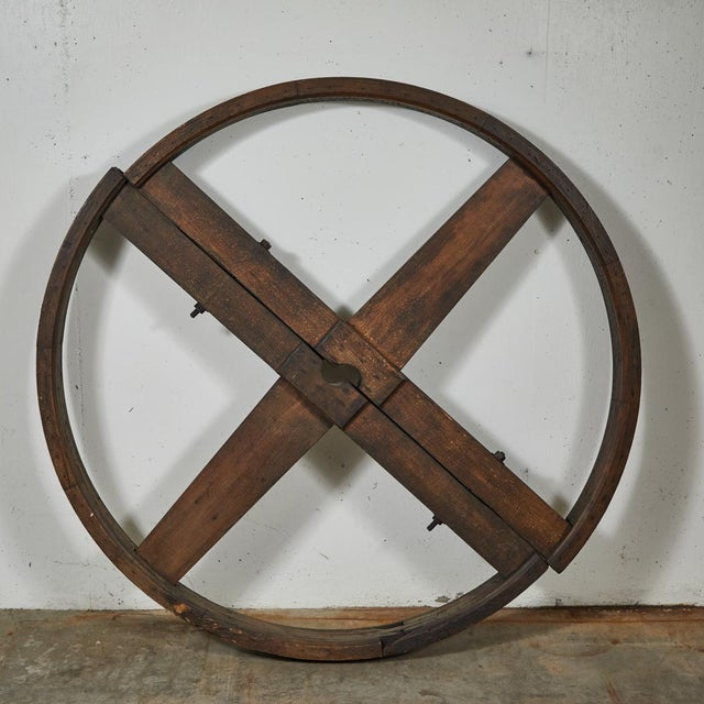 Brown Industrial Wooden Wheel For Sale - Image 8 of 9