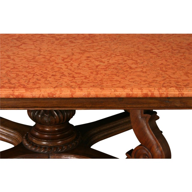 Antique French Marble Top Dining Table For Sale - Image 4 of 8