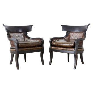 Pair of English Regency Style Ebonized Klismos Chairs For Sale