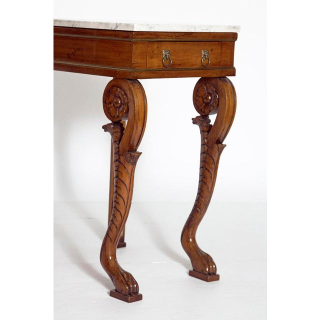 Gold A Pair of Charles X Style Mahogany Tables With White Marble Tops For Sale - Image 8 of 13