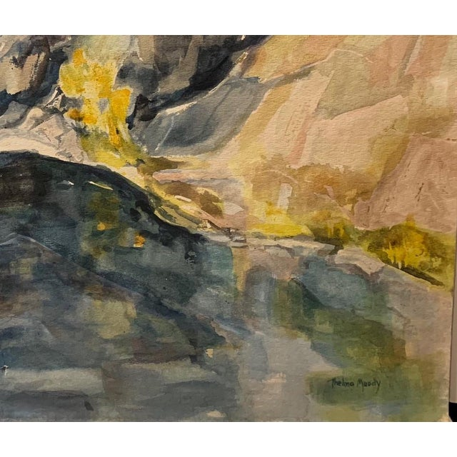 """Thelma Corbin Moody River Bank c. 1960's Watercolor on Arches Paper 30"""" x 22"""", Unframed Lovely, mid century watercolor..."""