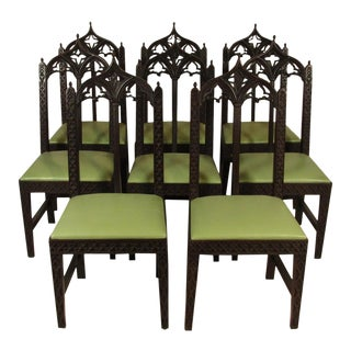 19th Century. Vintage Gothic Dining Chairs - Set of 8 For Sale