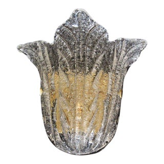 "1980s Hollywood Regency Barovier Murano Glass Clear ""Rugiadoso"" Leaf Wall Sconce"