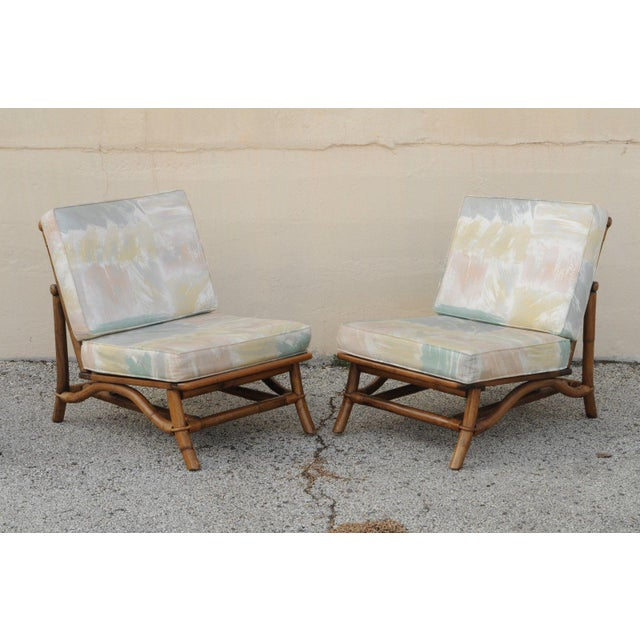 Ficks Reed Vintage Mid Century Ficks Reed 5 Pc. Rattan Tiki Set Bamboo Sofa Table Pair Chairs For Sale - Image 4 of 11