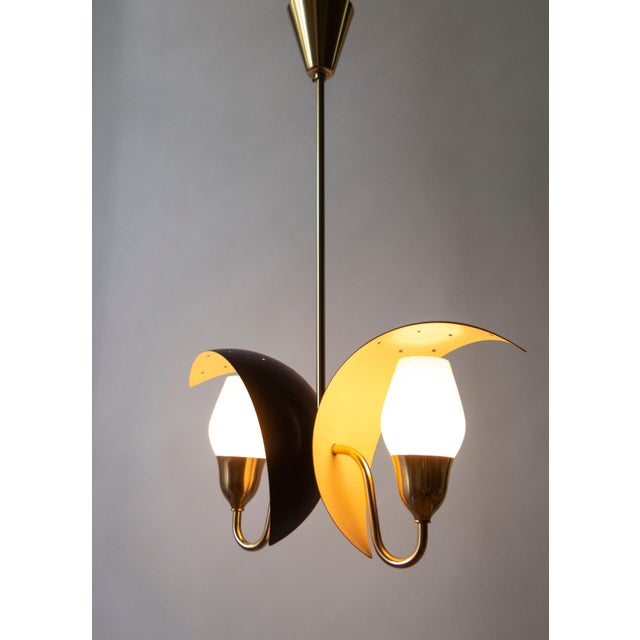 Mid-Century Modern Fog & Mørup, Danish Black and White Painted, Brass and Glass 2-Arm Chandelier For Sale - Image 3 of 6
