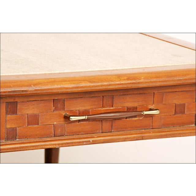 Danish Modern Wood Stone Top End Tables - Pair - Image 7 of 11
