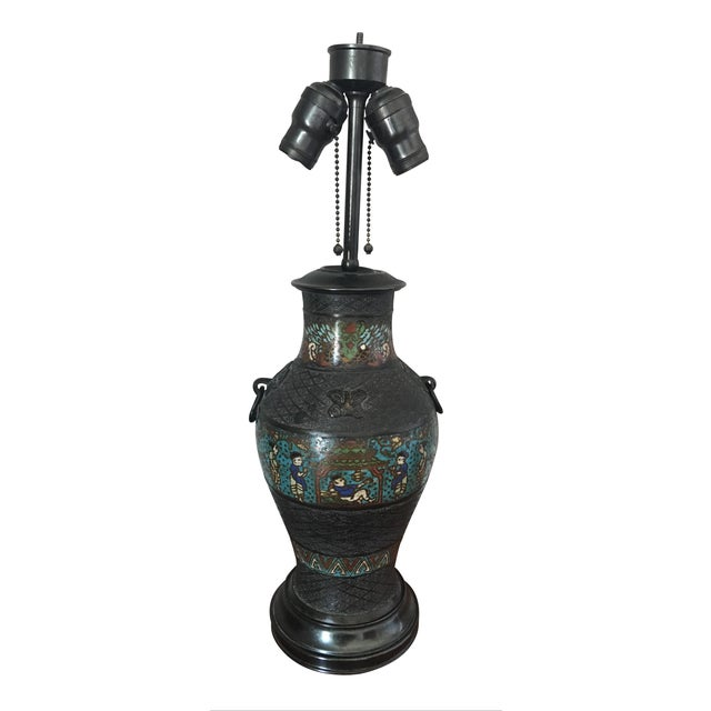 Antique Japanese Champleve Urn Style Lamp For Sale