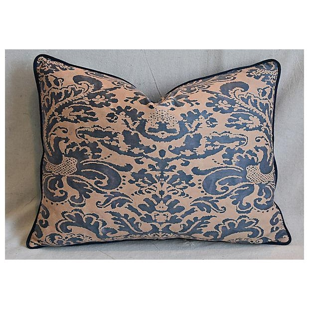 """Custom Tailored Italian Fortuny Corone & Velvet Feather/Down Pillow 24"""" X 18"""" For Sale - Image 5 of 7"""