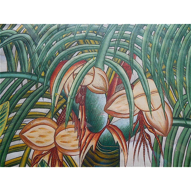 Green Large Vintage Signed Asian Painting-Tropical Scene For Sale - Image 8 of 8