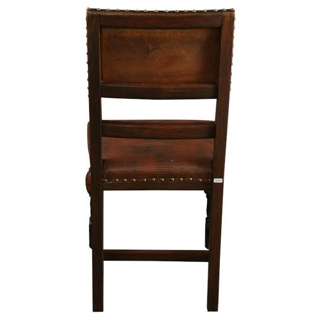 Vintage 1930 French Leather & Oak Dining Chair - Image 9 of 10