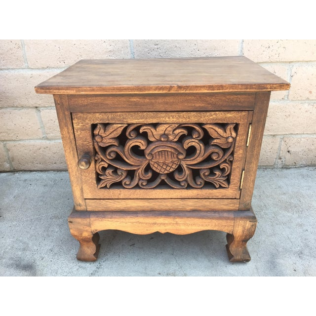 Asian Style Asian Hand Carved Wooden Cabinet For Sale - Image 4 of 4