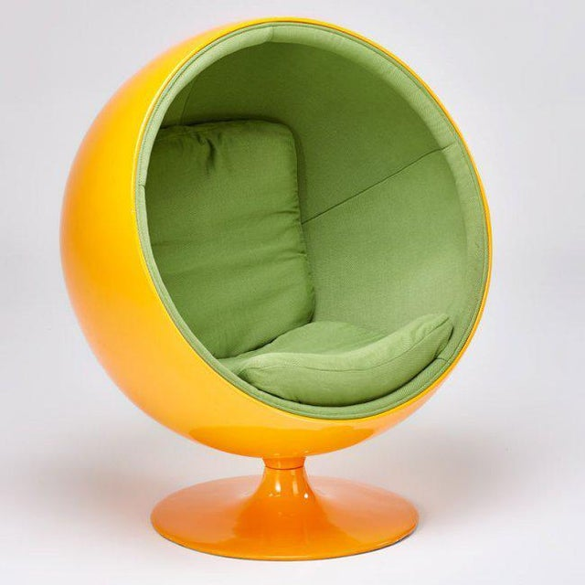 A vibrant bubble chair by Eero Aarnio attributed to Adelta production. Painted frame and stretch upholstery Finland, 2000....
