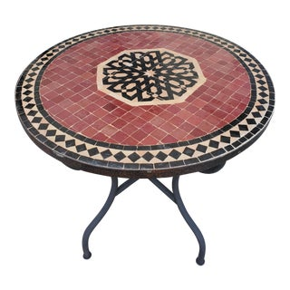 "Moroccan 32"" Red / Black Mosaic Dining Table For Sale"