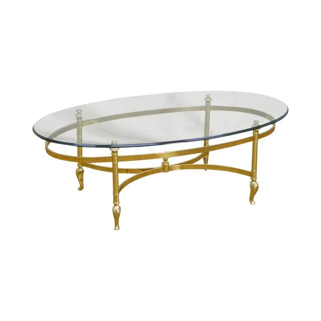 Ethan Allen Brass Glass Oval Coffee Table Chairish