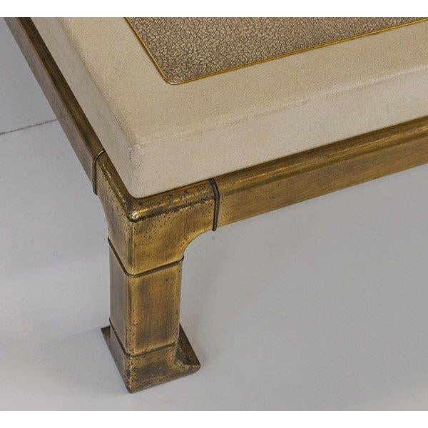 Mastercraft Coffee Table With Faux Snake Skin Embossed Leather and Hefty Brass Legs For Sale In Los Angeles - Image 6 of 10