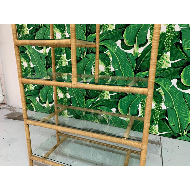 Rattan Wrapped Etagere For Sale - Image 6 of 9