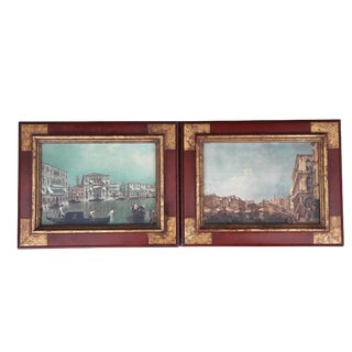 Pair Vintage Venice, Italy, Mid Century Framed Wall Prints For Sale