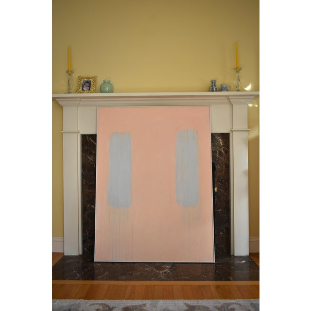 """""""Peachy"""" Large Contemporary Abstract Triptych Painting by Stephen Remick For Sale In Providence - Image 6 of 12"""