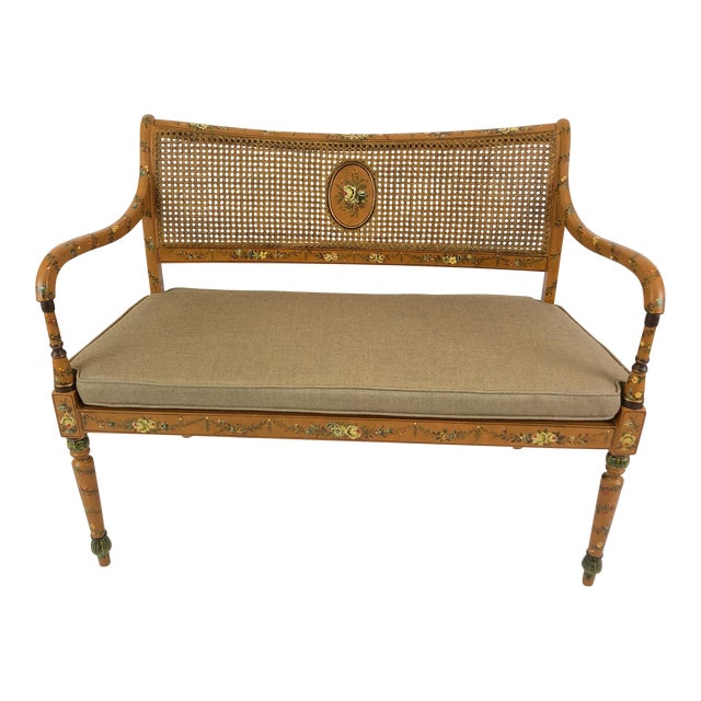 Venetian Style Caned and Hand Painted Loveseat Settee For Sale