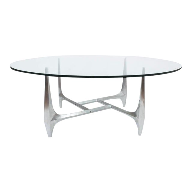 Large Sculptural Aluminium Coffee Table by Knut Hesterberg For Sale