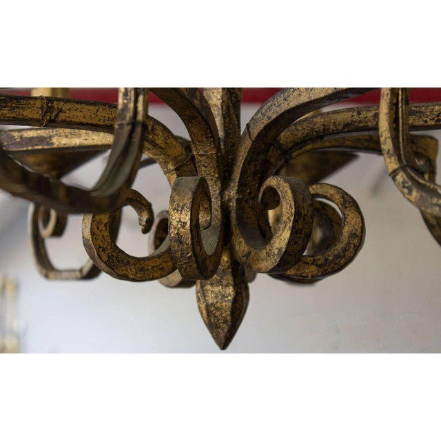 Mediterranean Unusual Spanish 19th Century Eight-armed Chandelier With Twisted Metal Stem For Sale - Image 3 of 10