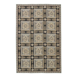 Needlepoint Design Hand Woven Wool Rug - 8' X 10' For Sale