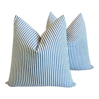 "American Striped Ticking Feather/Down Pillows 24"" Square - a Pair For Sale"