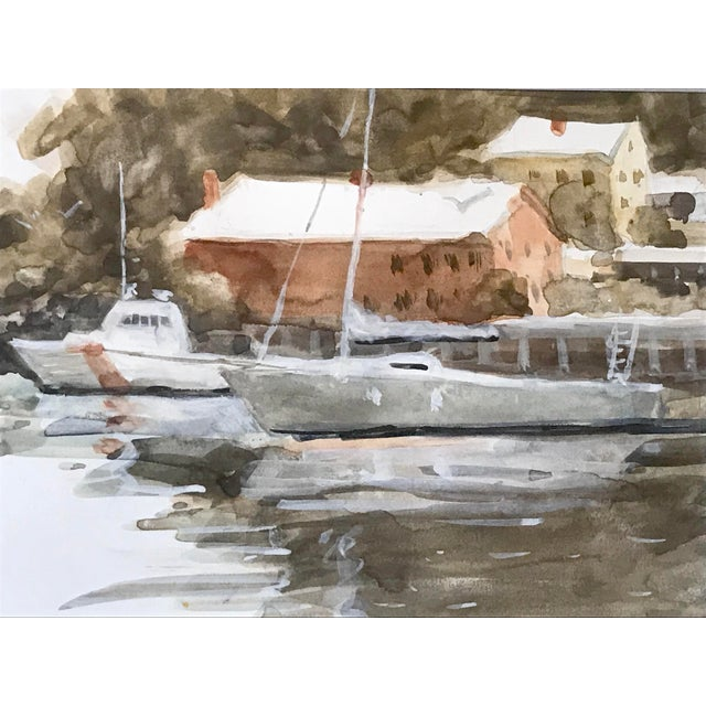 Vintage American Watercolor Boats Long Island New York by Harry Barton For Sale - Image 4 of 7