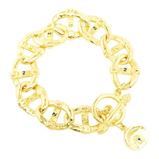 Gold Plated Classic Link Bracelet by Fendi With Charm Logo Closure For Sale