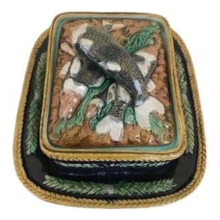 Late 19th Century Hand Painted Majolica Sardine Box Attributed to George Jones & Sons For Sale