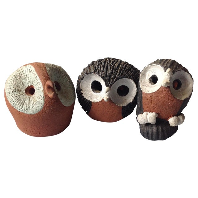 Mid-Century Modern Studio Pottery Owls - Set of 3 For Sale