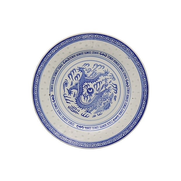 """Chinese """"Blue Rice"""" pattern luncheon plates. Popular Dragon pattern with translucent """"rice"""" on border. Maker's mark on..."""