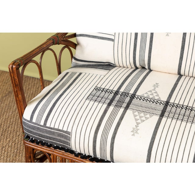 1920s Bent Wood Loveseat Settee With Injiri Upholstery For Sale - Image 9 of 10