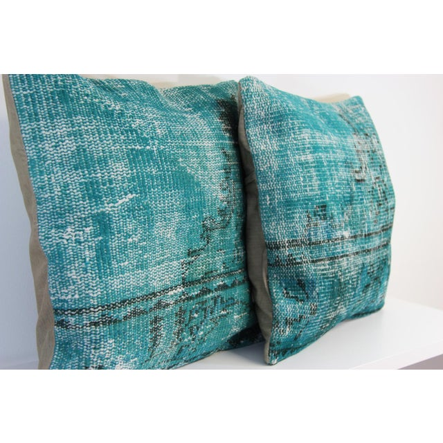 Turquoise Overdyed Pillow Covers - A Pair - Image 5 of 6