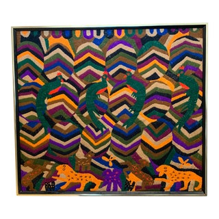 1960s Vintage Mid-Century Modern Textile Tapestry For Sale