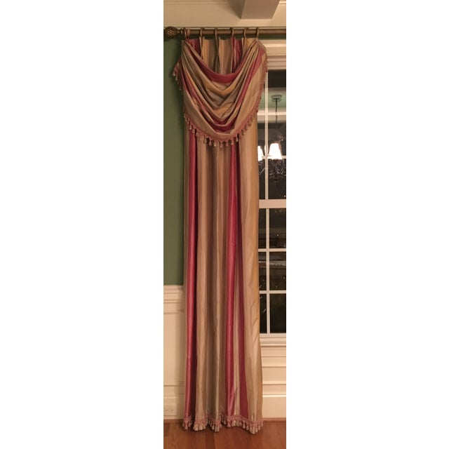 Custom made silk panels! Gorgeous trim! 2 panels to add richness and luxury to any room.