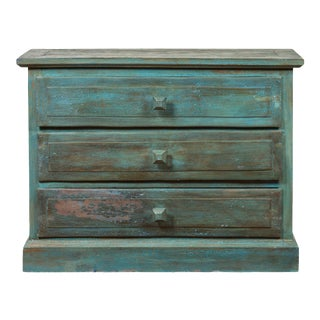Thai 1950s Vintage Clothing Chest with Seafoam Teal Patina and Three Drawers For Sale