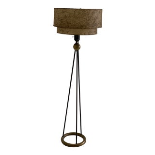 1950s Black and Brass Metal Floor Lamp With Fiberglass Shade For Sale