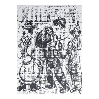 """Marc Chagall the Wandering Musicians 12.5"""" X 9.5"""" Lithograph 1957 Modernism Black & White For Sale"""