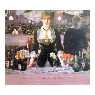 "Edouard Manet Rare Vintage 1988 Lithograph Print Museum Exhibition Poster "" a Bar at the Folies Bergere "" 1882 For Sale"