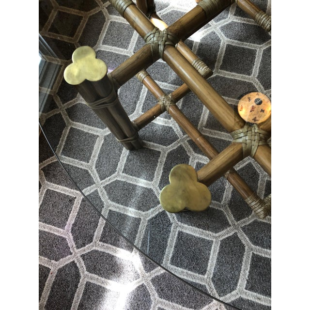 1990s Boho Chic McGuire Round Rattan Coffee Table With Glass Top For Sale In Philadelphia - Image 6 of 11