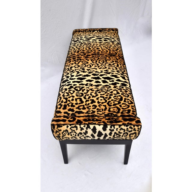 1970s Leopard Velvet Bench Attributed to Edward Wormley for Dunbar For Sale - Image 10 of 11
