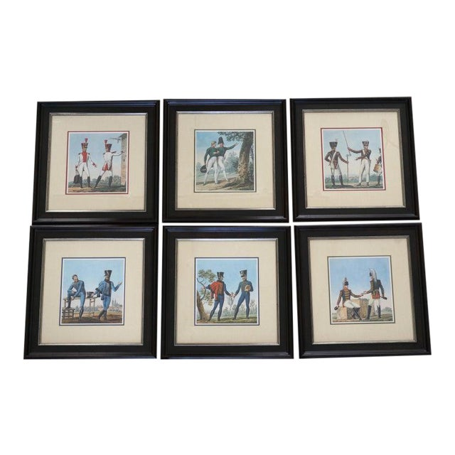Vintage 1800's Style French Military Soldier Prints - a Set of 6 For Sale