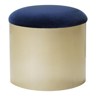 """Brushed Brass """"Mushroom"""" Pouf Ottoman in Navy Velvet by Montage For Sale"""