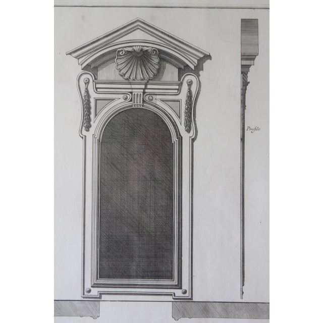 18th Century Antique Framed Architectural Engraving For Sale - Image 4 of 11