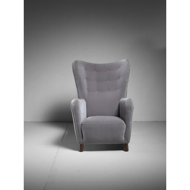 Mid-Century Modern Fritz Hansen High Wingback Grey Velour Lounge Chair, Denmark, 1940s For Sale - Image 3 of 5
