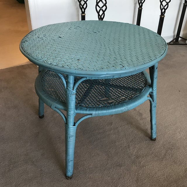 Blue Vintage Boho Chic Wicker and Rattan Side Table For Sale - Image 8 of 8