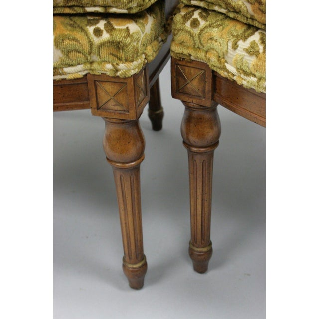 Fabric Pair of Vintage Hollywood Regency French Style Squiggle Loop Back Living Room Chairs For Sale - Image 7 of 11