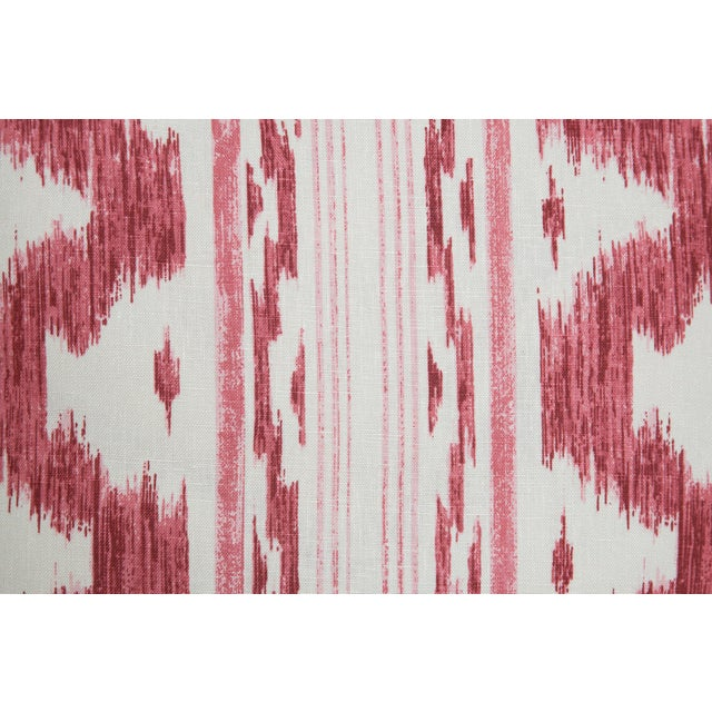 Garnet and Ivory Ikat Linen Pillows, Pair - Image 3 of 4