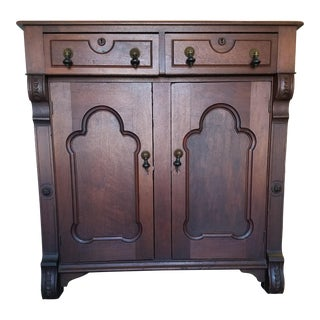 Antique Victorian Wood Server / Cabinet For Sale